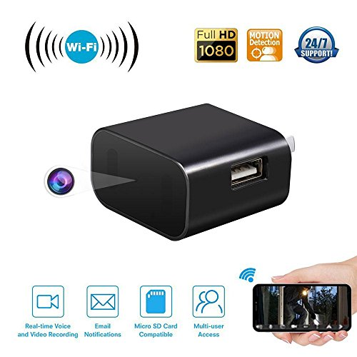 KOBWA USB Wall Charger Camera Wide Angle Full HD 1080P Wifi Security Camcorder DV Video Recorder Small Nanny Cam with IR Night Vision Motion Detection Loop Recording for Home Office
