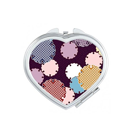 Japan Culture Red Yellow Blue Pink Art Ukiyo-e Folk Tradition Abstract Repeat Illustration Pattern Heart Compact Makeup Pocket Mirror Portable Cute Small Hand Mirrors
