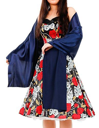 Dresstells Mujer Chal para la Boda de Noche De Sat¨¦n Red
