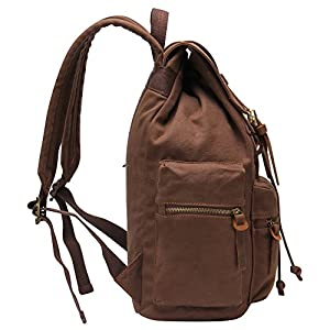Hynes Eagle Vintage Canvas Backpack Travel Rucksack 19 Liter Coffee