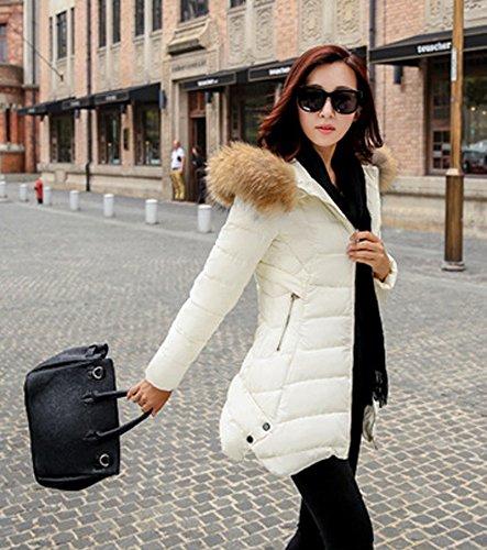 Blouson Slim Veste Longue Hiver Femme Parka Bigood Doudoune Capot Avec Manteau Blanc Chaud BHtRxxAqw