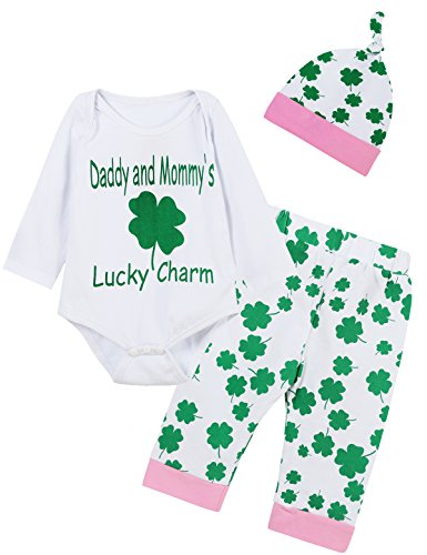 Giwawa ST Patricks Day Outfit Set 4Pcs Baby Girls Clover Romper (Green, 12-18 Months) -