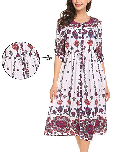 Unibelle Women Cuffed Sleeve Loose Vintage Printed Button Up Cocktail Sundress, White, M