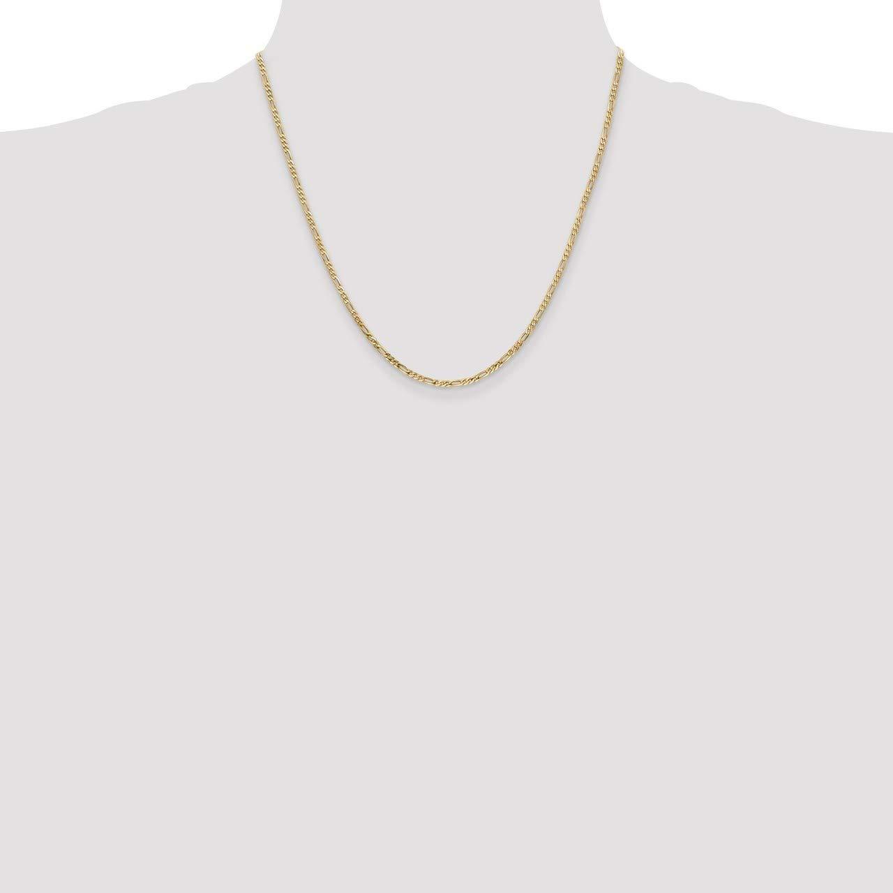 Lex /& Lu 14k Yellow Gold 2.25mm Flat Figaro Chain Necklace or Bracelet