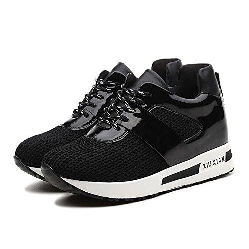 Zapatos de Mujer Zapatillas de Deporte de Punto Zapatos de Primavera, Verano, otoño Low Up Heighten Zapatos Deportivos de Mujer Zapatos para Correr (Color : Negro, tamaño : 39)