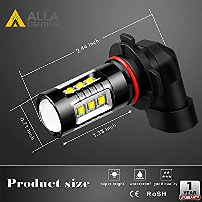 Alla Lighting 3200 Lumens 9145 H10 LED Fog Light Bulbs, Extreme Super Bright High Power 80W Cree 12V CANBUS 9140 9045 9040 PY20D 9155 Replacement, 6000K Xenon White: Automotive