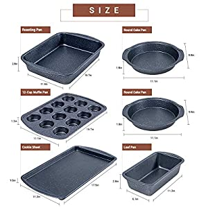 Nonstick Bakeware Set, 6-Pieces Set, Stylish and versatile Bakeware Set with 12-Cup Muffin Pan, Loaf Pan, 2 Round Cake…