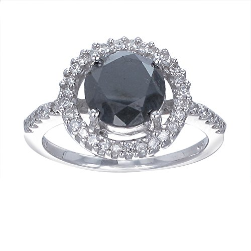 3.50 CT Black Diamond Engagement Ring in 14K White Gold in Size 7 (Available In Sizes 4 – 10)