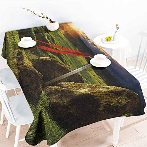 Resistant Table Cover,King Arthur Camelot Legend Myth in England Ireland Fields Invincible Myth Image,Resistant/Spill-Proof/Waterproof Table Cover,W52x70L Green Blue and Red]()