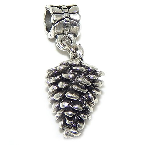 GemStorm Silver Plated Dangling Pinecone For European Snake Chain Bracelets 0085491 ()