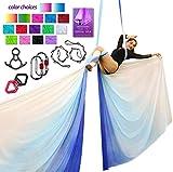 Aerial Silks Deluxe Equipment Set for Aerial Yoga, Aerial Yoga Hammock, Aerial Acrobatic,Circus Arts, Aerial Dance(L:10m W:2.8m (Gradual Change Blue)