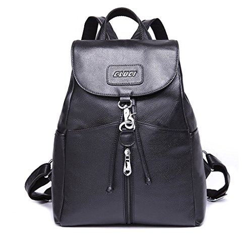 Cluci Women Leather Backpack Purse Satchel Shoulder School Bags For College Black