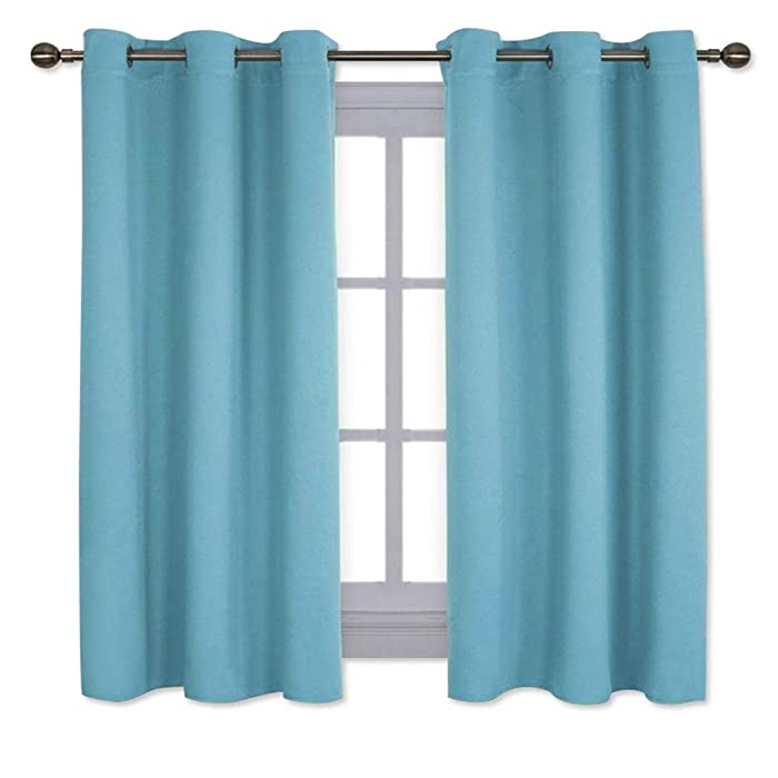 NICETOWN Window Treatment Thermal Insulated Solid Grommet Room Darkening Curtains/Drapes for Bedroom (Set of 2 Panels,42 by 63 Inch Long, Teal Blue=Light Blue)