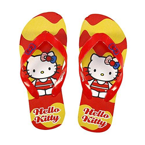 Flip Flops - Zehentreter - Hello Kitty mit Motiv- und Größenauswahl Gelb/Rot
