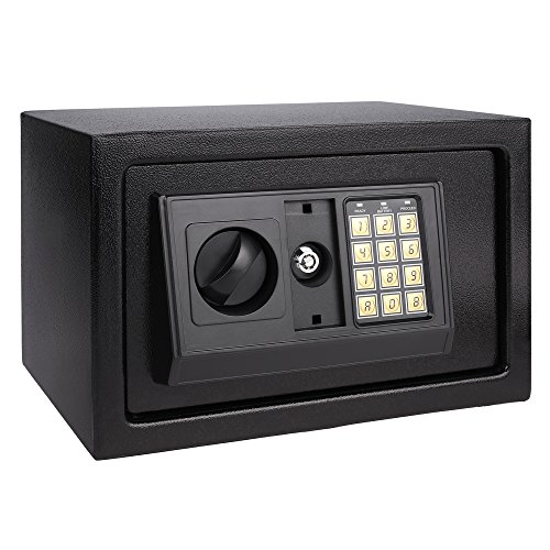 Electronic Digital Safe Box Hidden Wall/Floor Anchoring Design Home Office Safe Box, Double Deadbolt Lock,Black shipping from US( 12.1 x 7.8 x 7.8inch)