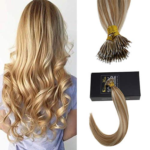 Caramel Color Highlights - Sunny 20inch Nano Ring Hair Extensions with Nano Ring Beads Color Caramel Blonde Highlight Bleach Blonde Remy Hair Extensions Nano Tip Hair Extensions Human Hair 1G/1S 50G