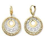 26mm Fancy Triple Circle 14K Two Tone Gold Lever Back Earrings