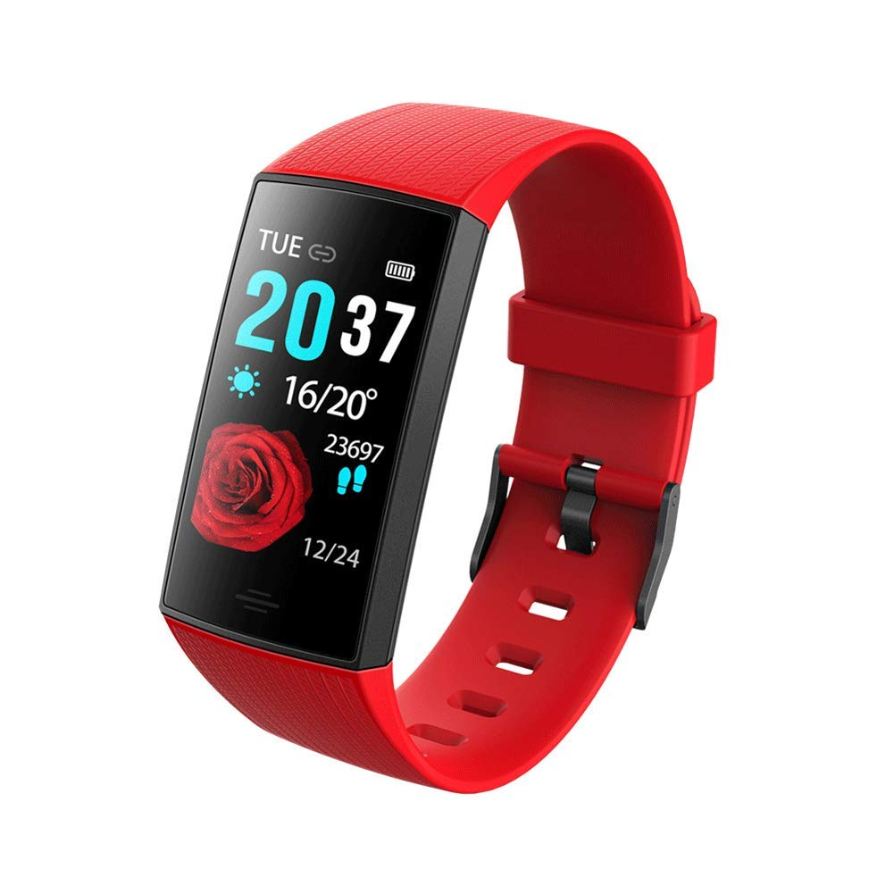 HSKK Smart Bracelet, Bluetooth Headset Combo Call KR04 Color Screen Heart Rate Step-by-Step Bluetooth Call Smart Bracelet-red by HSKK