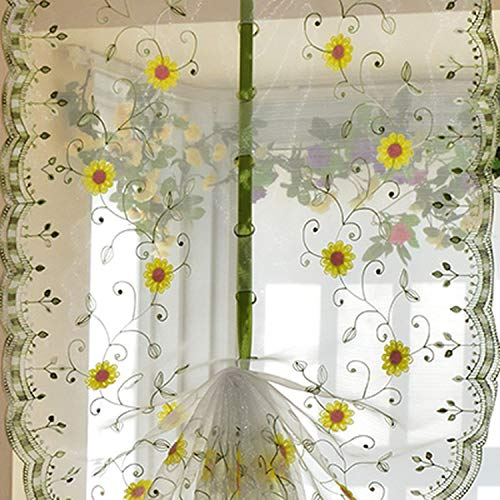 Organza Embroidery Pattern Flowers Balloon Curtain Tulle Blinds Curtains Kitchen Bedroom Living Room