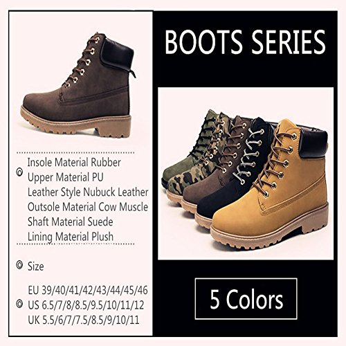 Men Combat Boots Combat Boots - hibote Worker Boots Outdoor Shoes Cowboys Boots Warm Lined Ankle Boots Brown ZGKihD