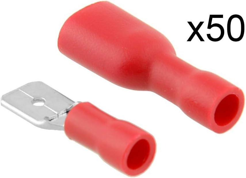 qhtongliuhewu 100 Unidades, Conector de Cable el/éctrico, 6,8 mm Aprox. Juego de terminales de crimpado aislados