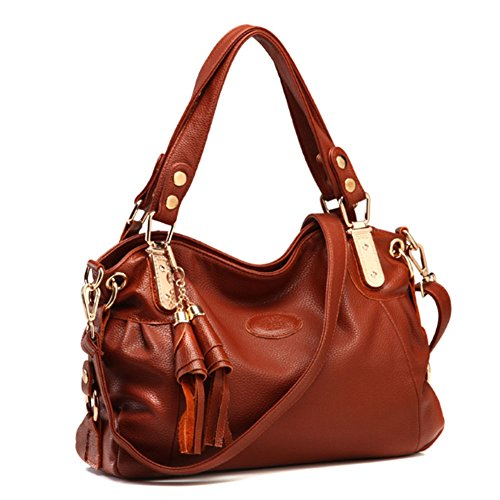 - Voudi Genuine Leather Handbags for Women Top Handle Bag Hobo Handbag Tote Shoulder Bag Designer Purse Ladies Cross Body Bag (Brown)