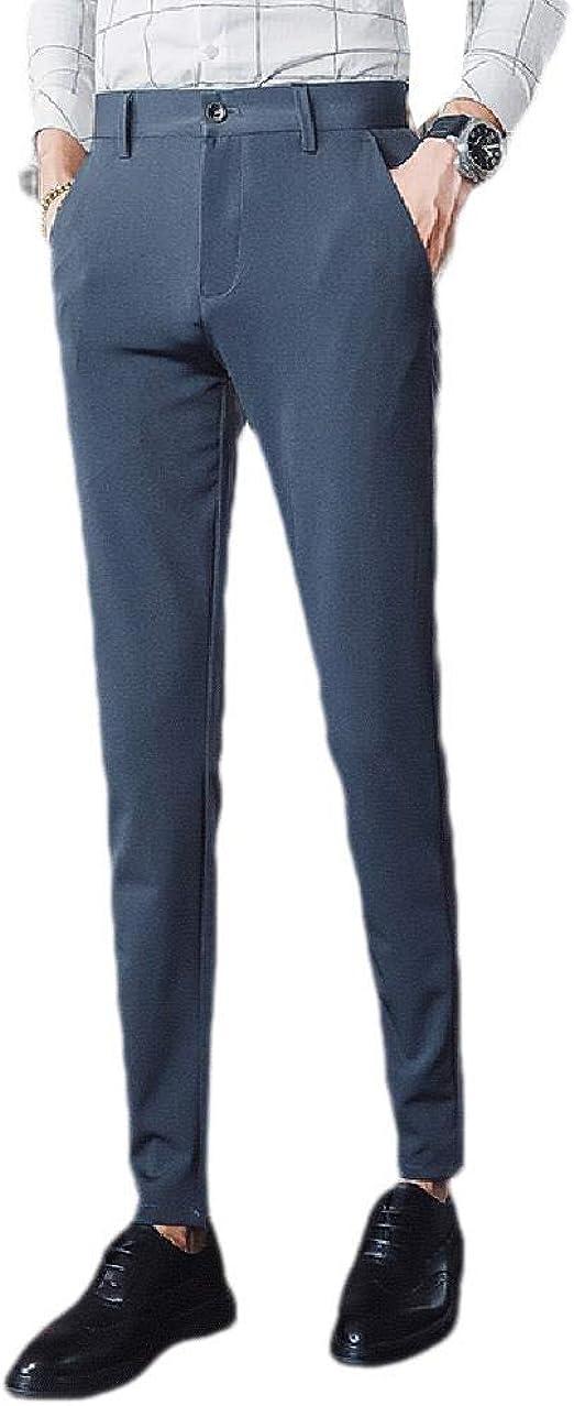 Candiyer 男性ポケットスリムフィットビジネスストレートフィットリラックスフィットプレーンフロントパンツ