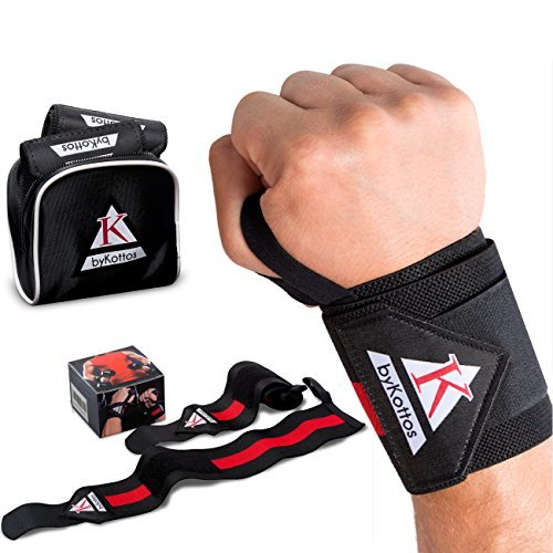 Wrist Wraps Weightlifting ByKottos, Powerlifting Wrist Straps, Professional Double Stitched Velcro, Fitness Wrist Support Braces, Crossfit Bodybuilding Weight Lifting, Heavy Gym Training, Men/Women