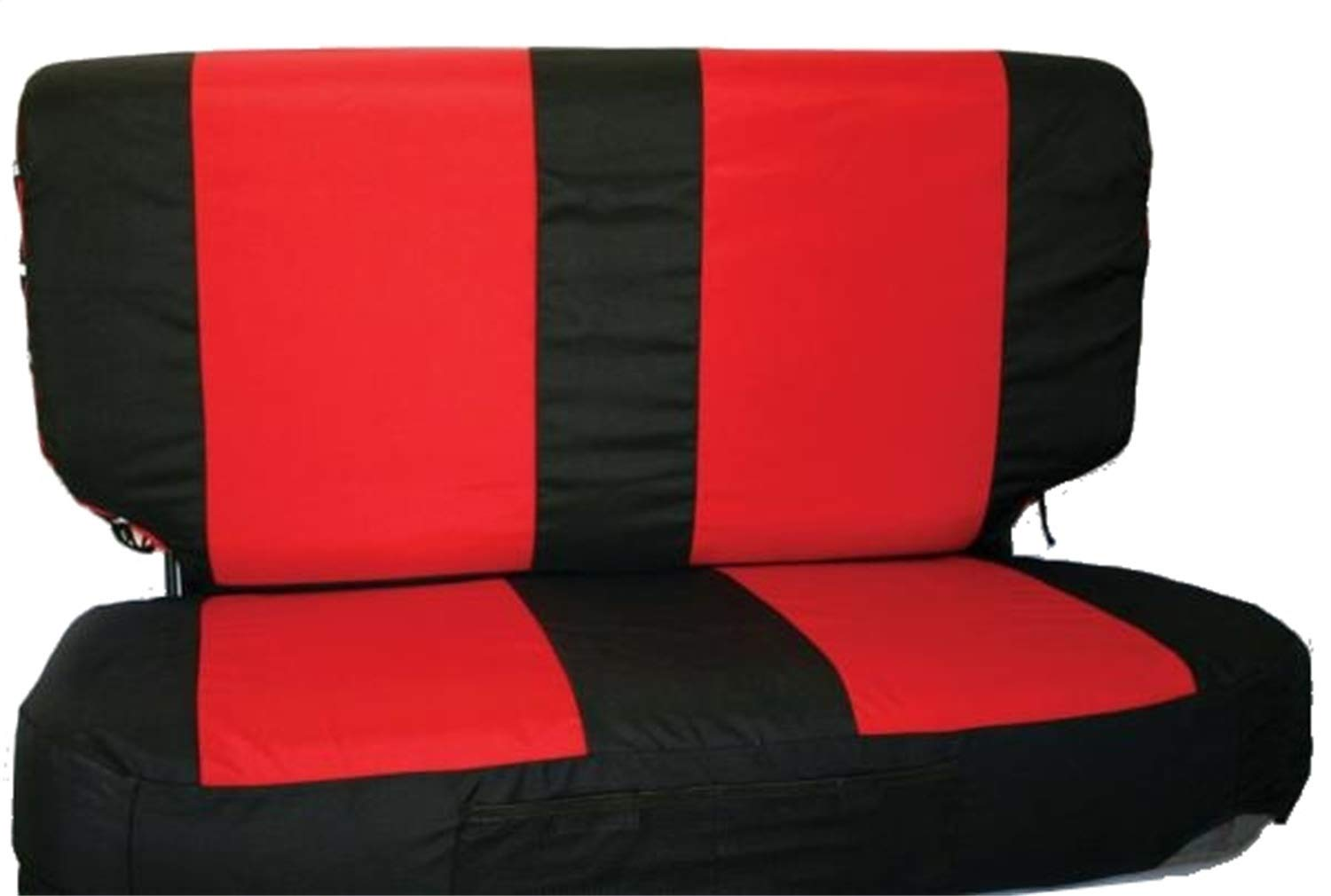 RAMPAGE PRODUCTS 5054530 Black//Red Polycanvas Front Seat Covers and Belt Pads for 1997-2002 Jeep Wrangler TJ