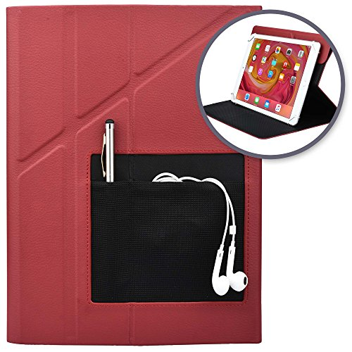 (9-10.1'' inch Tablet case, [New] Cooper Rotating 360 Degree Protective Slim Front Cover Drop Shock Proof Carry Carrying Smart Swivel Holder Work School Folio with Stand, Pockets, Card Slots (Red))