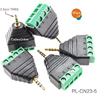 CablesOnline 5-Pack 2.5mm Stereo TRRS Male Plug to AV 4-Screw Terminal Block Balun Connectors, PL-CN23-5