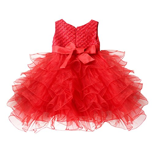 Tiaobug baby girls flower wedding pageant princess bowknot for 12 month dresses for wedding