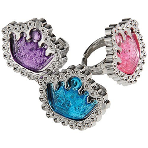 Assorted Color Tiara Theme Rings (12) (Pinata De Elsa Frozen)