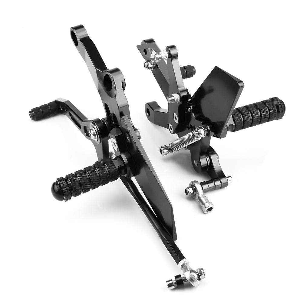 KIMISS 1 Pair Aluminum Motorcycle Footrest Wild Super Cool Adjustable Footrest Foot Rest Peg for Kawasaki Ninja 400 2018 black