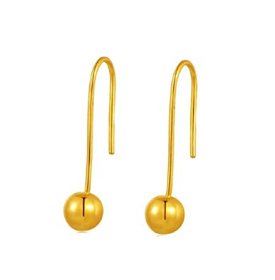 1cb91d1cf32 Amazon.com: GOWE 24k Pure Gold Earrings Real 999 Solid Bead Women ...