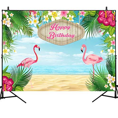 (Mehofoto 7x5ft Happy Birthday Backdrops Flamingle Flamingo Hawaiian Birthday Party Vinyl Banner Backdrop Tropical Beach or Aloha Party Dessert Table Children Customized Photo Booth Background)