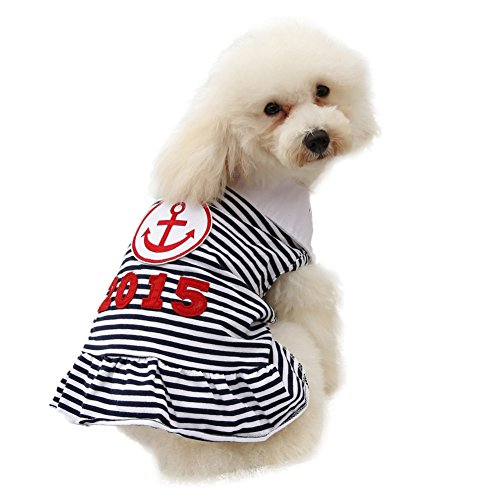 [Kuoser Fashion Dog Sailor Dress for Small Dogs Anchor Print Stripped Summer Spring Pet Clothes Pet Princess Shirt Charming Cozy Puppy Skirt Dog Outfits Cat Apparel XS -L£¬Black] (Princess Daisy Costumes Pattern)
