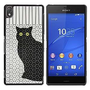 Be Good Phone Accessory // Dura Cáscara cubierta Protectora Caso Carcasa Funda de Protección para Sony Xperia Z3 D6603 / D6633 / D6643 / D6653 / D6616 // Cat Polka Dot Trippy Pattern