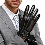 Mens Best Luxury Touchscreen Italian Nappa Genuine Leather Winter Warm Gloves for Texting Driving Warm Lining (M-8.5'', Black)