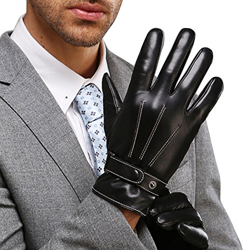 Leather Black Driving Gloves (Mens Best Luxury Touchscreen Italian Nappa Genuine Leather Winter Warm Gloves for Texting Driving Warm Lining (M-8.5