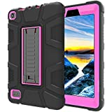 TabPow All-New Fire 7 Tablet (7th Gen, 2017), Shockproof, Drop Protection, Three-Layer Full-Body Hybrid Kids Adult Case With Kickstand For Fire 7 (7th Gen, 2017) & Fire 7 (5th Gen, 2015) - Pink