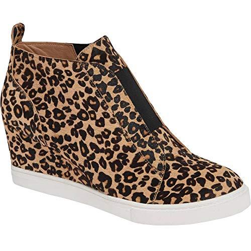 (Bigyonger Womens Wedge Sneakers Leopard Print Casual Side Zip Ankle Bootie)