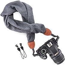 Wolven Soft Scarf Camera Neck Shoulder Strap Belt Compatible for All DSLR/SLR/Digital Camera (DC)/Instant Camera/Nikon/Canon/Sony/Pentax/Olympus/Leica/Fujifilm etc, Grey