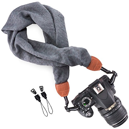 Price comparison product image Wolven Soft Scarf Camera Neck Shoulder Strap Belt Compatible for All DSLR / SLR / Digital Camera (DC) / Instant Camera / Nikon / Canon / Sony / Pentax / Olympus / Leica / Fujifilm etc,  Grey