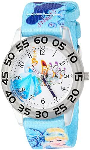 Disney Girl's 'Cinderella' Quartz Plastic and Nylon Casual Watch, Color:Blue (Model: WDS000129)