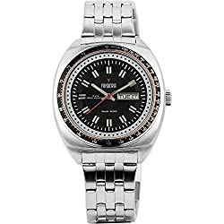 Men's Italian Designed Taxi Driver by Fonderia all Stainless Steel Black Dial with Red Accents Quartz Watch P-7A004UN1