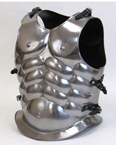l Roman Greek Steel Muscle Armor Cuirass- Silver ()