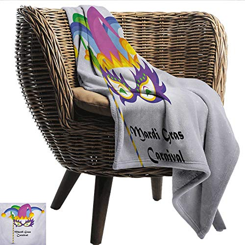 Anshesix Reversible Blanket Mardi Gras Mardi Gras Carnival Inscription with Traditional Party Icons Clown Costume Hat Print Summer Quilt Comforter W40 xL60 Sofa,Picnic,Camping,Beach,Everyday -