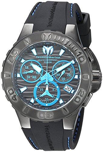 Technomarine Men's Cruise Stainless Steel Quartz Watch with Silicone Strap, Black, 26 (Model: TM-115080) (Watch Men Technomarine)