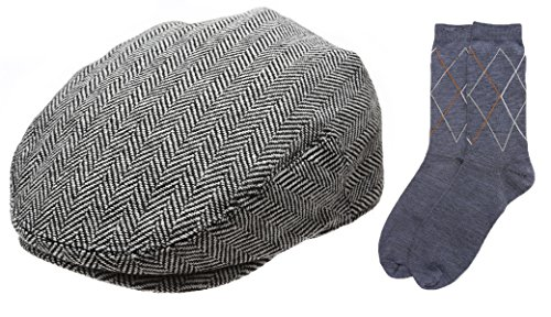 Men's Collection Wool Blend Herringbone Tweed Newsboy Ivy Hat with Dress Socks.(2038,MEDIUM)